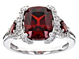 Red And White Cubic Zirconia Rhodium Over Sterling Silver Ring 6.77ctw