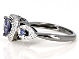 Blue And Whtie Cubic Zirconia Black And White Rhodium Over Sterling Silver Ring 1.91ctw