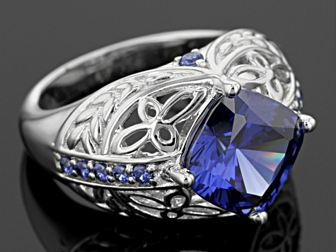 Blue And White Cubic Zirconia Rhodium Over Sterling Silver Ring 7.90ctw