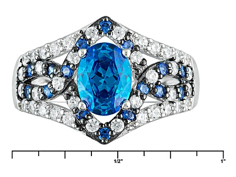 Blue And White Cubic Zirconia Rhodium Over Sterling Silver Ring 3.29ctw