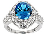 Blue And White Cubic Zirconia Rhodium Over Sterling Silver Ring 8.44ctw