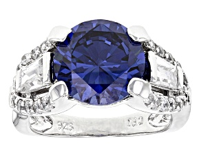 Blue And White Cubic Zirconia Rhodium Over Sterling Silver Ring 10.94ctw