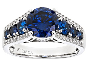 Blue And White Cubic Zirconia Rhodium Over Sterling Silver Ring 5.07ctw
