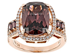 Purple And White Cubic Zirconia 18k Rose Gold Over Sterling Silver Ring 10.35ctw