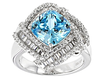 Picture of Blue And White Cubic Zirconia Rhodium Over Sterling Silver Ring 6.24ctw