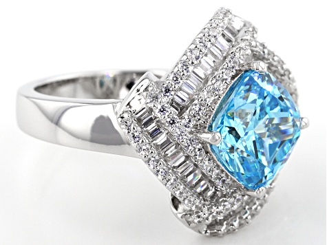Blue And White Cubic Zirconia Rhodium Over Sterling Silver Ring 6.24ctw