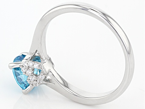 Blue And White Cubic Zirconia Rhodium Over Sterling Silver Ring 1.64ctw
