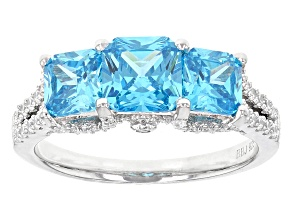 Blue And White Cubic Zirconia Rhodium Over Sterling Silver Ring 4.20ctw