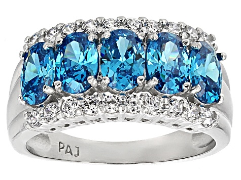 Blue And White Cubic Zirconia Rhodium Over Sterling Silver Ring 3.49ctw