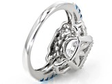 Blue And White Cubic Zirconia Rhodium Over Sterling Silver Ring 3.34ctw