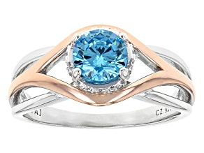 Blue And White Cubic Zirconia Rhodium & 18k Rose Gold Over Sterling Silver Ring 1.43ctw