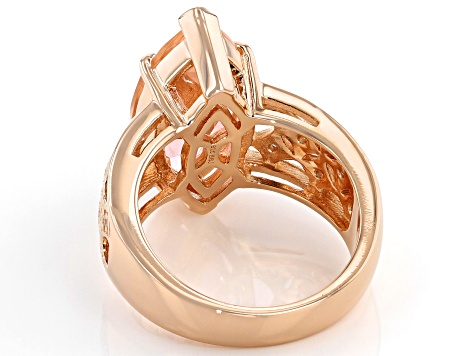 Morganite Simulant And White Cubic Zirconia 18k Rose Gold Over Sterling Silver Ring 7.39ctw