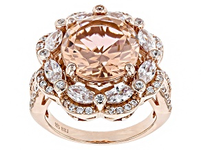 Morganite Simulant And White Cubic Zirconia 18k Rose Gold Over Sterling Silver Ring 10.95ctw