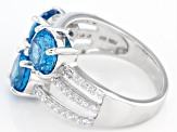 Blue And White Cubic Zirconia Rhodium Over Sterling Silver Ring 8.46ctw