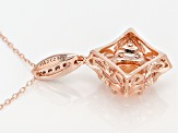 Morganite Simulant & White Cubic Zirconia 18k Rose Gold Over Silver Pendant/Chain 1.68ctw