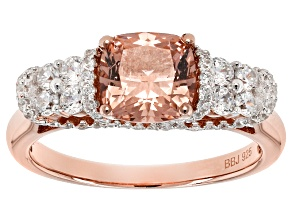 Morganite Simulant And White Cubic Zirconia 18k Rose Gold Over Sterling Silver Ring 2.36ctw