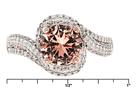 Morganite Simulant And White Cubic Zirconia 18k Rose Gold Over Sterling Silver Ring 2.70ctw