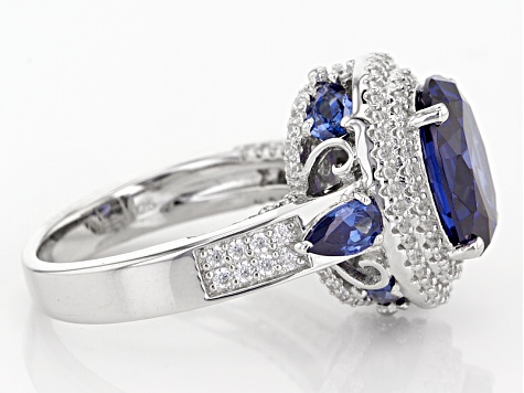 Blue And White Cubic Zirconia Rhodium Over Sterling Silver Ring 8.03ctw