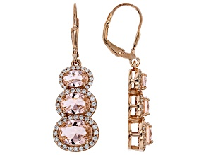 Morganite Simulant & White Cubic Zirconia 18k Rose Gold Over Sterling Silver Earrings 8.91ctw