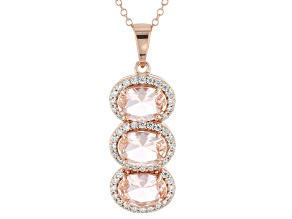 Morganite Simulant & White Cubic Zirconia 18k Rose Gold Over Silver Pendant With Chain 3.95ctw