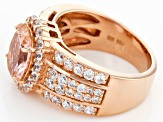 Morganite Simulant And White Cubic Zirconia 18k Rose Gold Over Sterling Silver Ring 5.38ctw