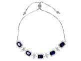 Blue And White Cubic Zirconia Rhodium Over Sterling Silver Adjustable Bracelet 10.40ctw