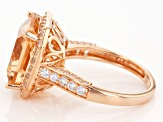 Morganite Simulant And White Cubic Zirconia 18k Rose Gold Over Sterling Silver Ring 9.81ctw