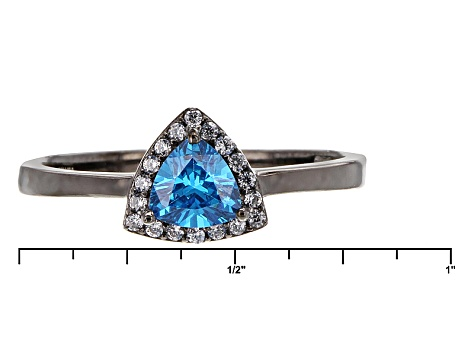 Blue And White Cubic Zirconia Black Rhodium Over Sterling Silver Ring 1.11ctw