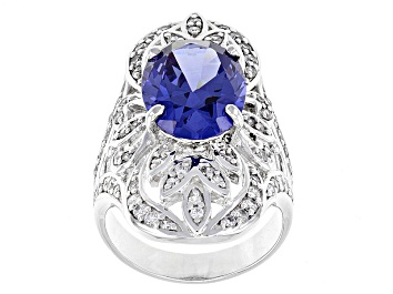 Picture of Blue And White Cubic Zirconia Rhodium Over Sterling Silver Ring 11.03ctw