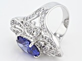 Blue And White Cubic Zirconia Rhodium Over Sterling Silver Ring 11.03ctw