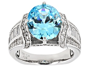 Blue And White Cubic Zirconia Rhodium Over Sterling Silver Ring 10.17ctw