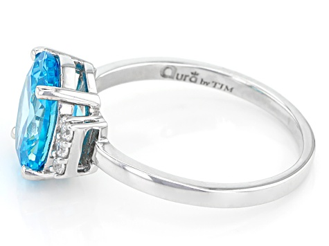 Blue And White Cubic Zirconia Rhodium Over Sterling Silver Ring 4.58ctw