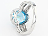 Blue And White Cubic Zirconia Rhodium Over Sterling Silver Ring 6.50ctw
