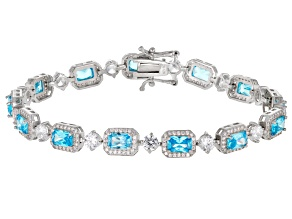 Blue And White Cubic Zirconia Rhodium Over Sterling Silver Bracelet 21.62ctw
