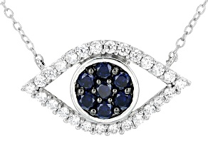 Blue And White Cubic Zirconia Rhodium Over Sterling Silver Necklace 3.00ctw
