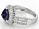 Blue And White Cubic Zirconia Rhodium Over Sterling Silver Ring 5.74ctw