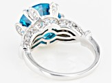 Blue And White Cubic Zirconia Rhodium Over Sterling Silver Ring 11.72ctw