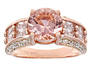 Morganite Simulant & White Cubic Zirconia 18k Rose Gold Over Sterling Silver Ring 7.69ctw