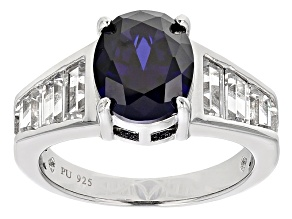 Blue And White Cubic Zirconia Rhodium Over Sterling Silver Ring 6.76ctw