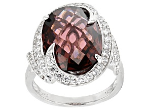 Purple And White Cubic Zirconia Rhodium Over Sterling Silver Ring 13.28ctw
