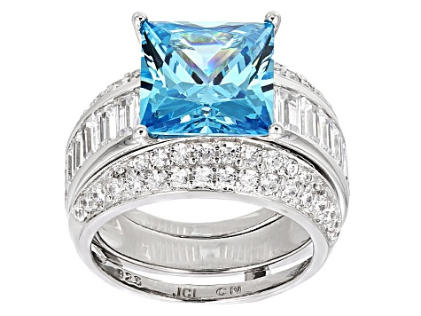 Blue And White Cubic Zirconia Rhodium Over Sterling Silver Ring With Guard 14.24ctw