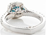 Blue And White Cubic Zirconia Rhodium Over Sterling Silver Ring 3.41ctw