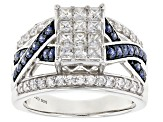 Blue & White Cubic Zirconia Rhodium Over Sterling Silver Ring 2.39ctw