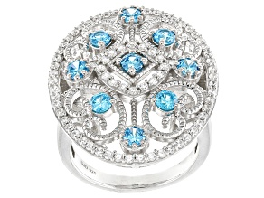 Blue & White Cubic Zirconia Rhodium Over Sterling Silver Ring 2.70ctw