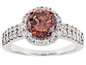 Pink And White Cubic Zirconia Rhodium Over Sterling Silver Ring 3.81ctw