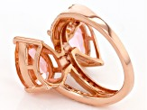 Morganite Simulant & White Cubic Zirconia 18k Rose Gold Over Sterling Silver Ring 7.24ctw