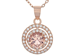 Morganite Simulant And White Cubic Zirconia 18k Rg Over Sterling Silver Pendant With Chain 3.83ctw