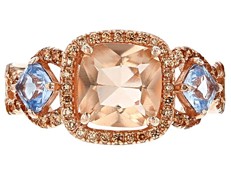 Morganite Simulant, Lab Created Blue Spinel And Brown Cubic Zirconia 18k Rg Over Silver Ring 4.73ctw