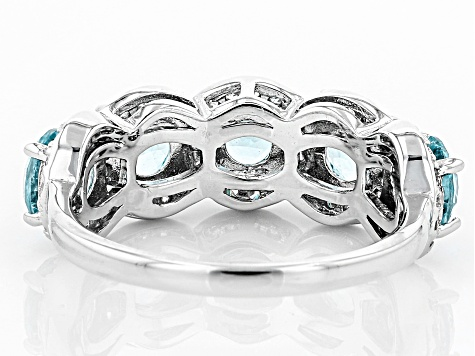 Blue And White Cubic Zirconia Rhodium Over Sterling Silver Ring 4.32ctw