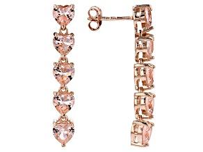 Morganite Simulant 18k Rose Gold Over Sterling Silver Earrings 5.30ctw